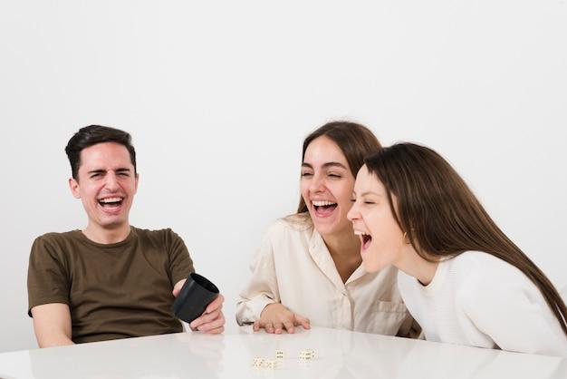 Frente, vista, amigos, rir