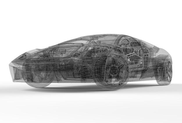 Frente, wireframe, car