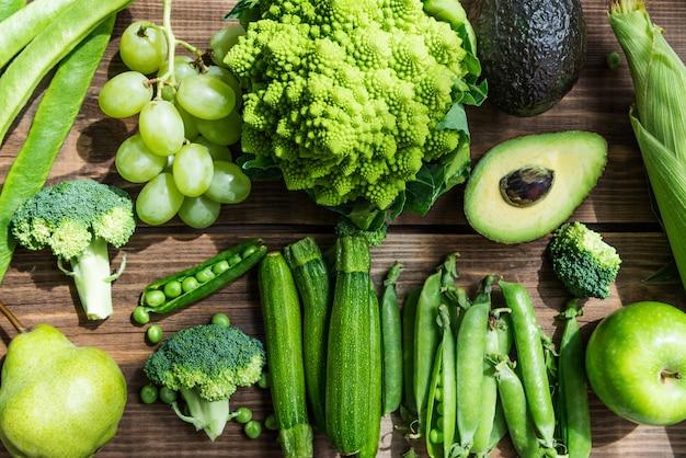 Fresco, cru, outono, verde, legumes, e, frutas