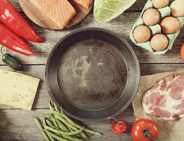 Frigideira vazia com legumes ao redor, vista superior