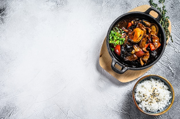 Frite a carne de bovino em molho de ostra com arroz. fundo branco. vista do topo. copie o espaço
