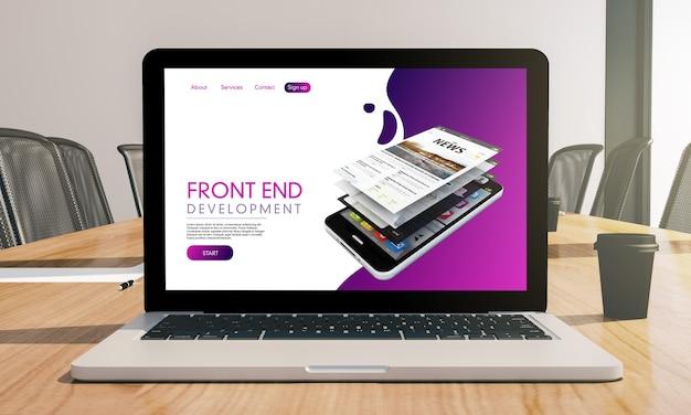 Front end na maquete do laptop na renderização 3d da sala de conferências
