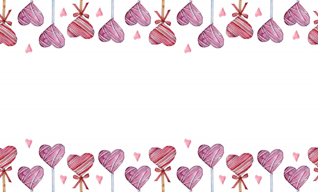 Fronteira aquarela feita de pirulitos em forma de coração