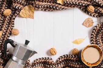 Fronteira de cachecol e comida de outono