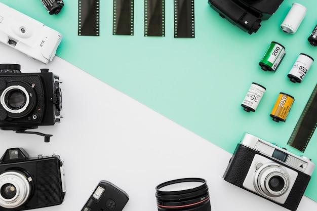 Fronteira de câmeras e filme sortido