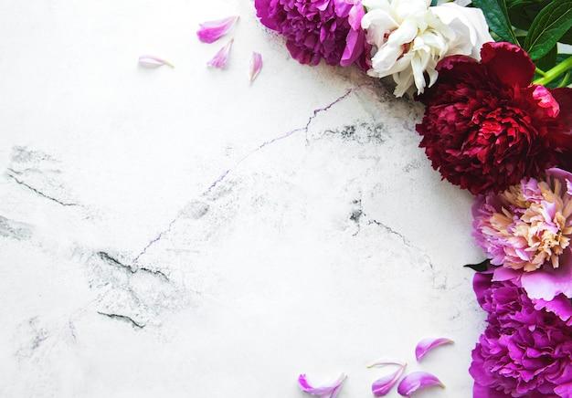 Fronteira de flores de peônia rosa fresca com espaço de cópia no fundo de mármore branco, plana leigos.