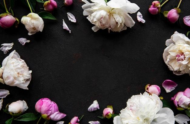 Fronteira de flores peônia rosa fresca com espaço de cópia sobre fundo preto de concreto, configuração plana.