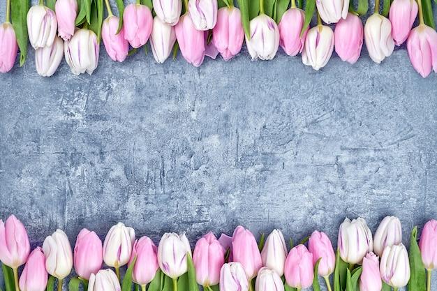 Fronteira de tulipas cor de rosa em fundo cinza. copiar espaço, vista superior