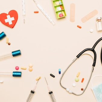 Fronteira do estetoscópio e medicamentos