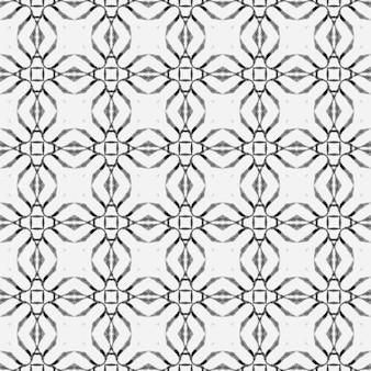 Fronteira em aquarela de azulejos pintados à mão em preto e branco great boho chic design têxtil pronto para estampas alucinantes trajes de banho tecido envolvendo fundo aquarela