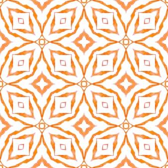 Fronteira sem emenda do medalhão em aquarela. design de verão chique boho laranja encantadora. padrão sem emenda de medalhão. impressão impressionante pronta para têxteis, tecido para trajes de banho, papel de parede, embrulho.