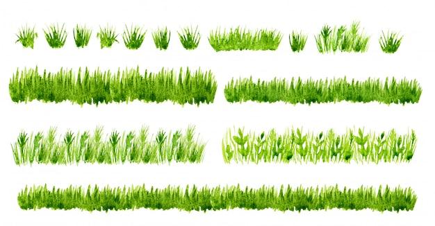 Fronteiras de grama verde aquarela conjunto isoladas