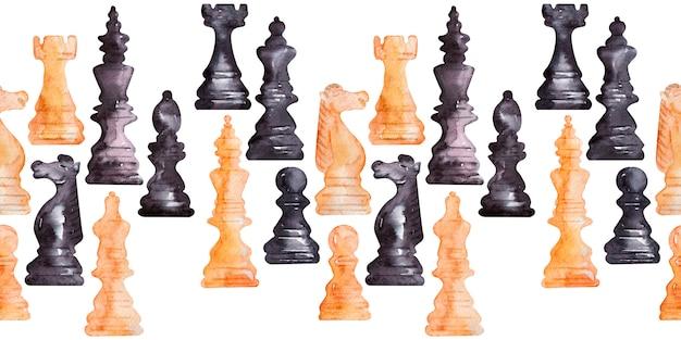Fronteiras em aquarela com peças de xadrez