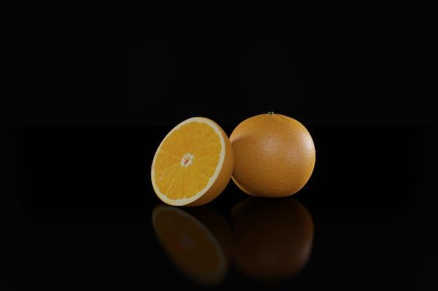 Fruta 3d laranja com fatias de laranja e folhas isoladas no fundo preto.