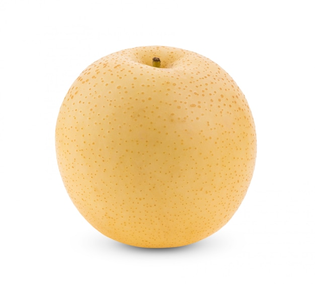 Fruta amarela pera na parede branca