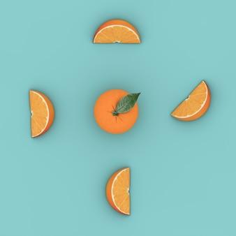 Fruta criativa do conceito: laranja proeminente no fundo pastel azul. vista de cima