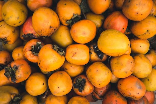 Fruta de kaki laranja aérea