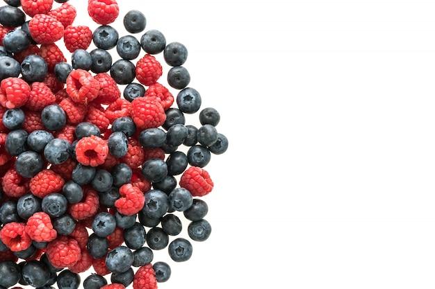 Fruta de mirtilo e framboesa