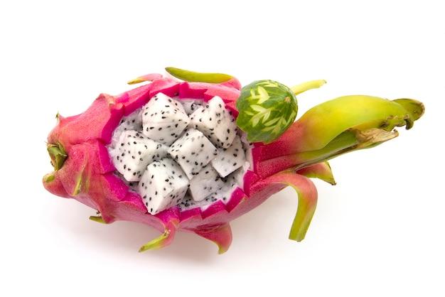 Fruta do dragão estilo tailândia esculpida com cubo fresco dragão frutas decorar