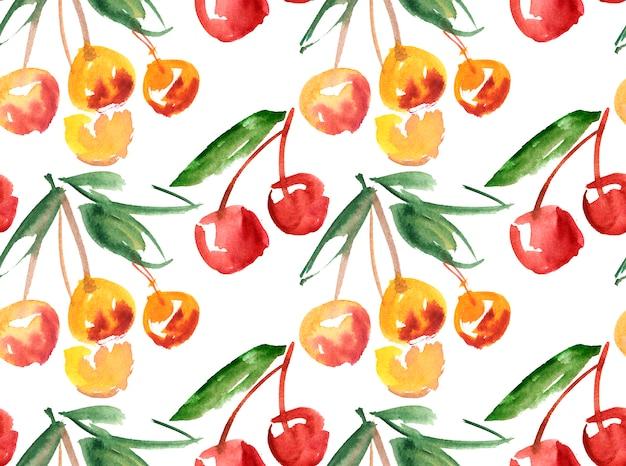 Fruta em cerejeira feita à mão em aquarela
