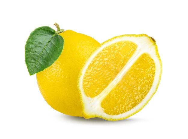 Fruta limão com folha isolada no fundo branco