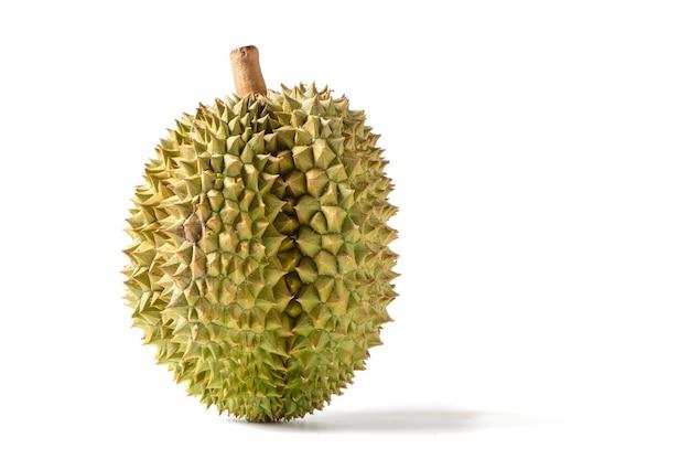 Fruta madura do durian de monthong isolada na superfície branca, rei das frutas na tailândia