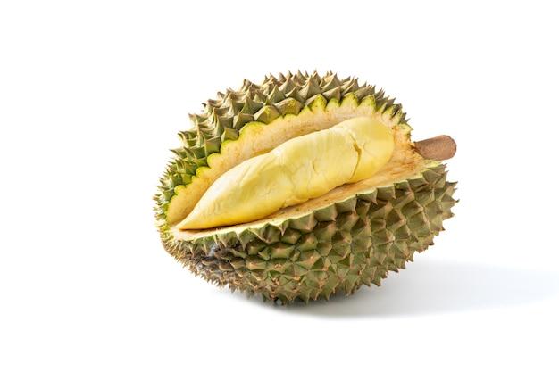 Fruta madura do durian de monthong isolada no fundo branco, rei das frutas na tailândia