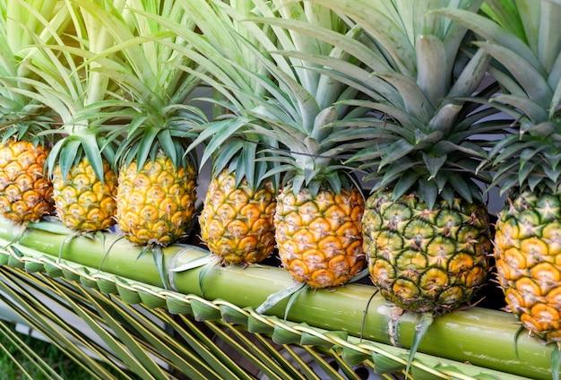 Fruta tropical fresca do abacaxi no bambu para a venda no mercado