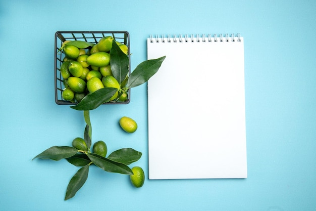 Frutas caderno branco cesta cinza de frutas cítricas com folhas