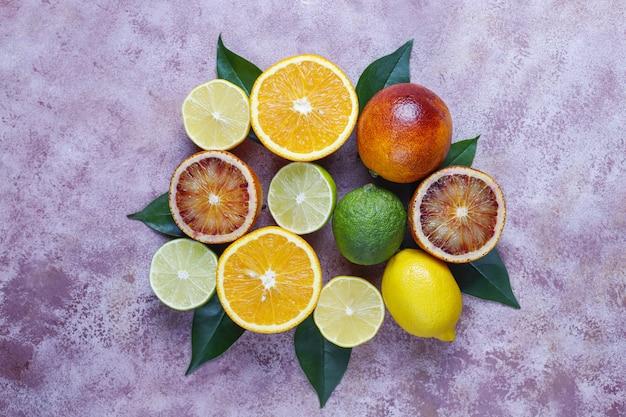 Frutas cítricas, vista superior