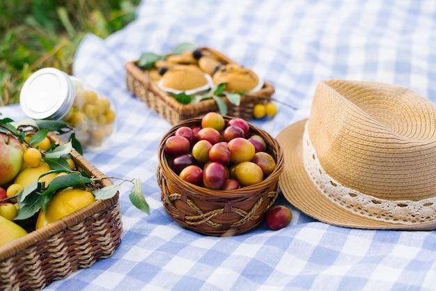 Frutas e bagas em cestas de piquenique em uma toalha xadrez branca azul em um gramado verde e um chapéu de palha