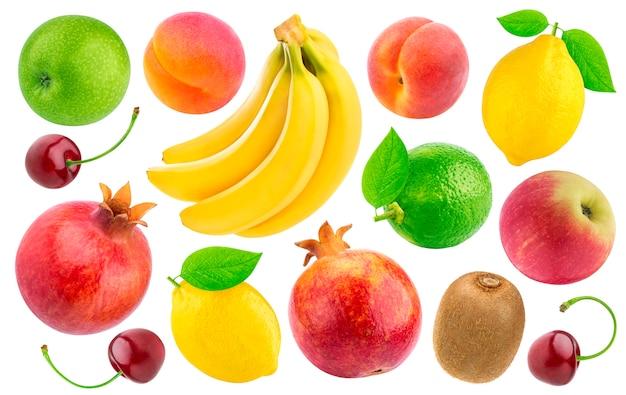 Frutas e bagas isoladas no branco
