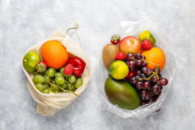 Frutas e frutas orgânicas frescas variadas