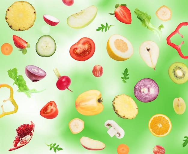 Frutas e vegetais . comida saudável para o conceito de bem-estar