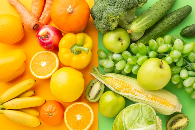 Frutas e vegetais deliciosos na horizontal