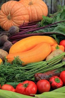 Frutas e vegetais multicoloridos diferentes fecham no fundo escuro, a placa de madeira