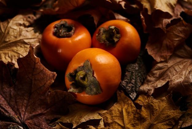 Frutas frescas de caqui em folhas de outono laranja na madeira