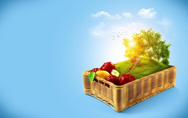 Frutas frescas na cesta colagem de verão