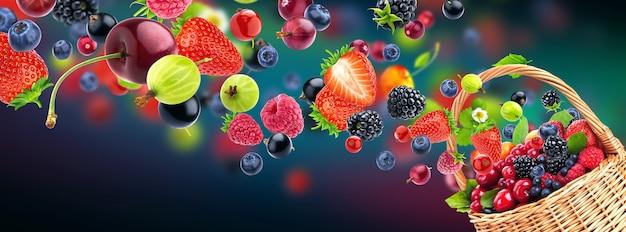 Frutas frescas voando para uma cesta de vime