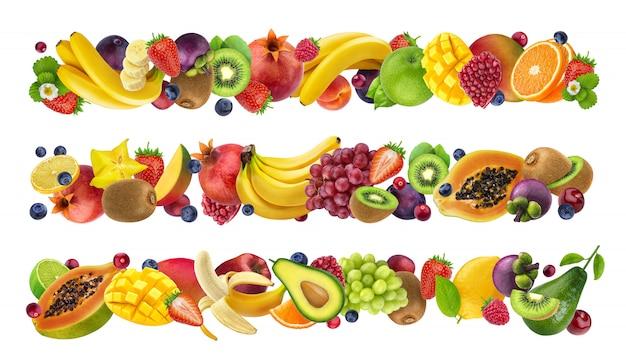 Frutas sazonais tropicais e exóticas, bagas da floresta