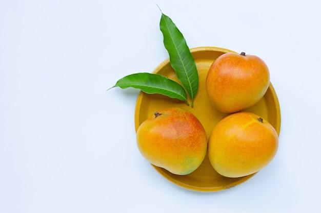 Frutas tropicais, manga na placa amarela em fundo branco.