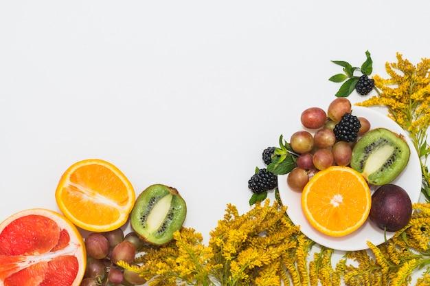 Frutos cortados ao meio; uvas; amoras e lindas flores amarelas sobre fundo branco