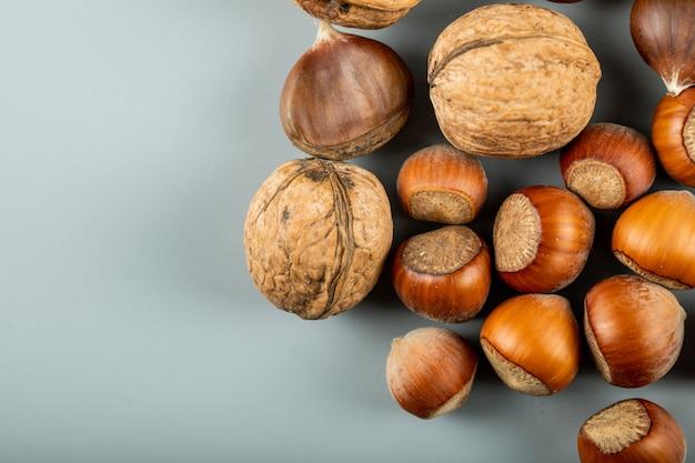 Frutos de outono, nozes e castanhas