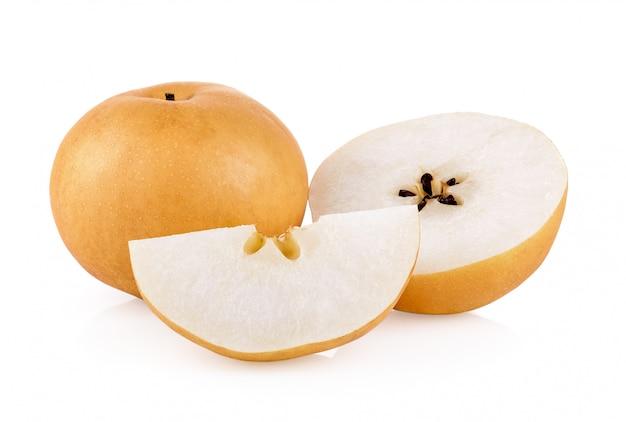 Frutos de pêra na mesa branca