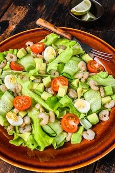 Frutos do mar, abacate, camarão, salada de camarão.