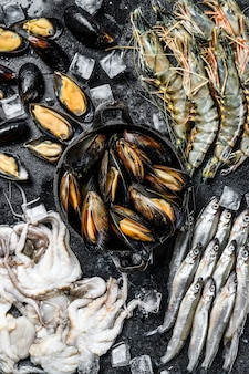 Frutos do mar crus, camarões tigre, camarões, mexilhões azuis, polvos, sardinhas, cheiros