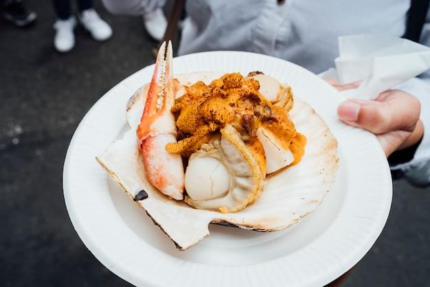 Frutos do mar no mercado de rua