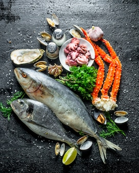 Frutos do mar. peixes diferentes com ostras, caranguejo e polvo bebê. sobre fundo preto rústico