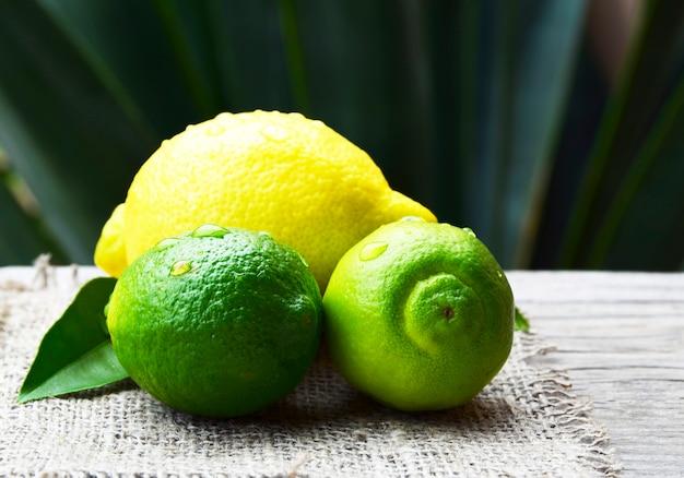 Frutos orgânicos maduros frescos do limão e do cal na tabela de madeira velha. limão e lima. conceito de dieta ou aromaterapia.