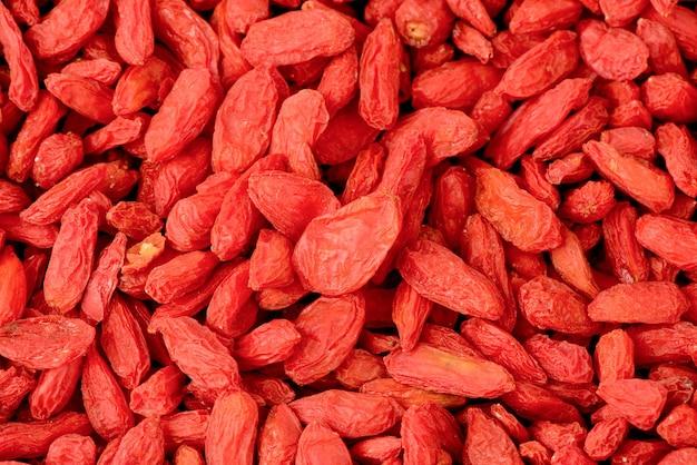 Frutos secos de goji na vista superior, plana leigos.